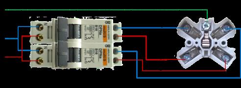Schematische voorstelling van 2 x 230 V Perilex-systeem